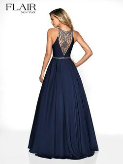 Style 19105 Flair Prom Blue Size 2 Navy Prom Sorority Formal A-line Dress on Queenly