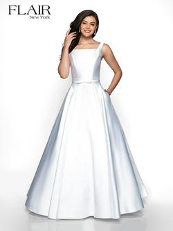 Style 19018 Flair Prom White Size 14 Plus Size Prom Silk A-line Dress on Queenly