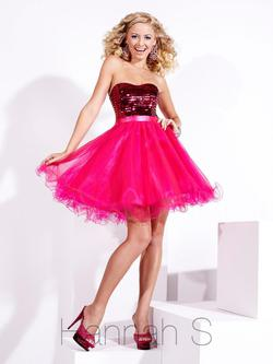 Style 27674 Hannah S Pink Size 10 Strapless Jewelled Cocktail Dress on Queenly