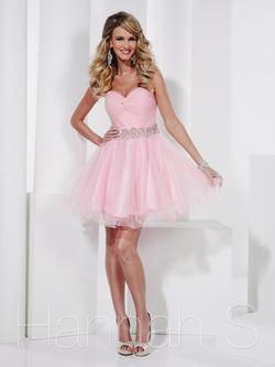 Style 27808 Hannah S Pink Size 2 Belt Cocktail Dress on Queenly