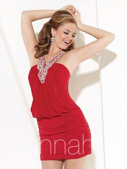 Style 27894 Hannah S Red Size 8 Sequin Bodycon Jersey Cocktail Dress on Queenly