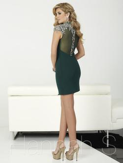 Style 27085 Hannah S Green Size 10 Sorority Formal V Neck Jersey Fitted Cocktail Dress on Queenly