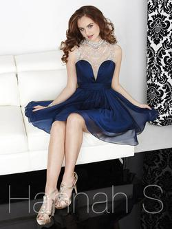 Style 27059 Hannah S Blue Size 0 Sorority Formal High Neck Sequin Cocktail Dress on Queenly