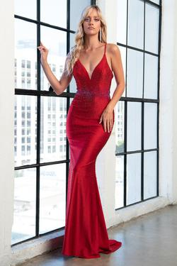 Style AC390 Iva Remington Red Size 8 Pageant V Neck Jersey Mermaid Dress on Queenly
