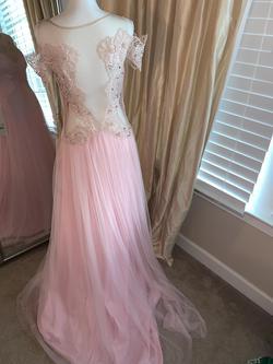 Tarik Ediz Pink Size 10 Tulle Nude A-line Dress on Queenly