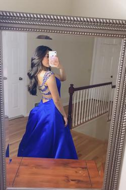 Sherri Hill Royal Blue Size 0 Ball gown on Queenly