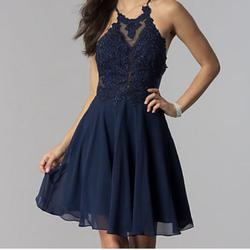 Jovani Blue Size 10 Cocktail Dress on Queenly