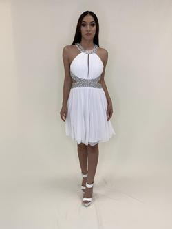 Larissa Couture LV White Size 4 Flare Cut Out Cocktail Dress on Queenly