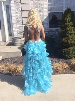 Sherri Hill Blue Size 4 Cocktail Dress on Queenly