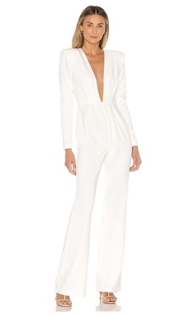 Michael Costello White Size 6 Tall Height Interview Jumpsuit Dress on Queenly