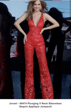 Jovani Red Size 2 Jewelled Jumpsuit Dress on Queenly
