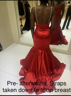 Tiffany Designs Red Size 4 Prom Mermaid Dress on Queenly