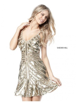 Sherri Hill Gold Size 6 Tall Height A-line Dress on Queenly