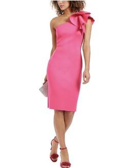 Eliza J Pink Size 4 One Shoulder Straight Dress on Queenly
