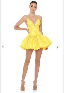 Elyia Yellow Size 0 Fitted Silk Cocktail Dress on Queenly