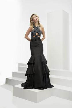 Style 6113 Jasz Couture Black Size 4 Ruffles Mermaid Dress on Queenly
