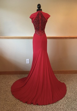 Sherri Hill Red Size 6 Side Slit Sheer Train Dress on Queenly