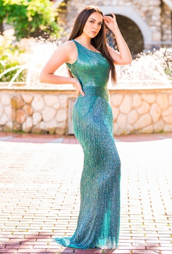 Ashley Lauren Blue Size 6 Fully-beaded One Shoulder Pageant Turquoise Side slit Dress on Queenly