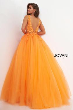 Style 02840 Jovani Orange Size 4 Prom Plunge Pageant Ball gown on Queenly