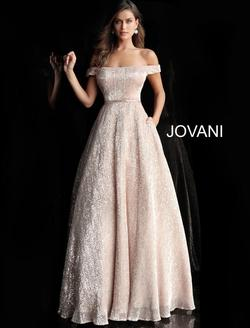 Style 66951 Jovani Gold Size 8 Prom Belt A-line Dress on Queenly