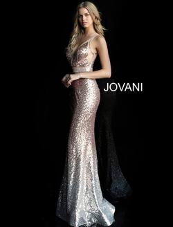 Style 63439 Jovani Rose Gold Size 2 Tall Height Mermaid Dress on Queenly