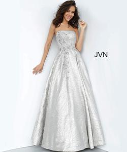 Style JVN02323 Jovani Silver Size 14 Prom Tall Height Strapless Ball gown on Queenly