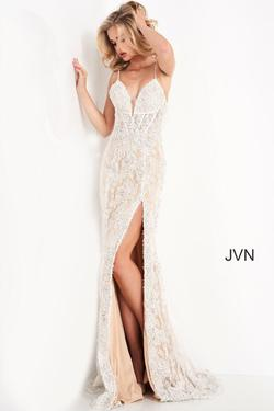 Style JVN05757 Jovani White Size 00 Nude Tall Height Lace Side slit Dress on Queenly
