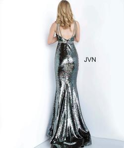 Style JVN02721 Jovani Silver Size 6 Pageant Tall Height Fitted Mermaid Dress on Queenly