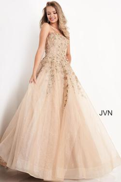 Style JVN05451 Jovani Gold Size 00 Quinceanera Tall Height Ball gown on Queenly