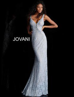 Style 48994 Jovani White Size 4 Tall Height Lace Fitted Mermaid Dress on Queenly