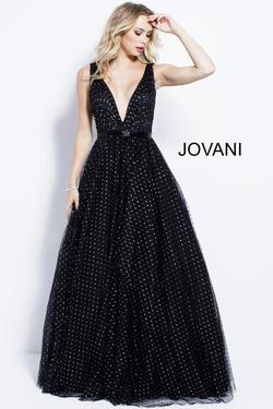 Style 57696 Jovani Black Size 14 Prom Belt Tall Height Ball gown on Queenly