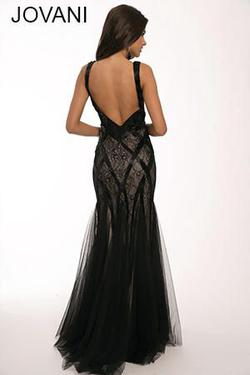 Style 21381 Jovani Black Size 10 Tulle Nude Mermaid Dress on Queenly