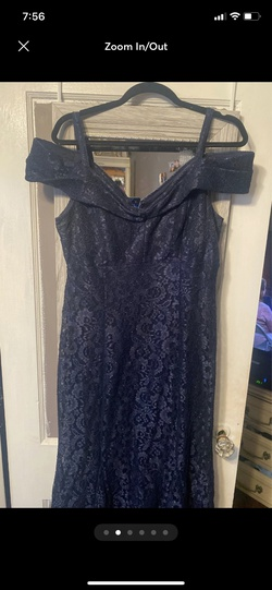 R&M Richards Blue Size 14 Navy Flare Short Height A-line Dress on Queenly