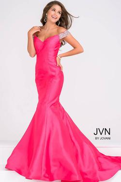 Style JVN23455 Jovani Hot Pink Size 8 Tall Height Mermaid Dress on Queenly