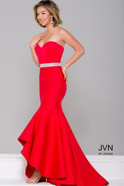 Style JVN41956 Jovani Red Size 8 Tall Height Mermaid Dress on Queenly