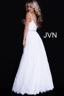 Style JVN58005 Jovani White Size 2 Prom Belt Sequin Ball gown on Queenly