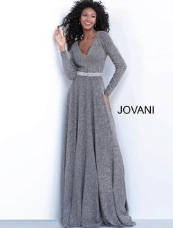 Style 62812 Jovani Silver Size 12 Belt Tall Height A-line Dress on Queenly