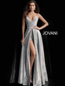 Style 66284 Jovani Silver Size 8 Tall Height Side slit Dress on Queenly