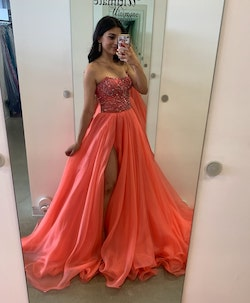 Sherri Hill Orange Size 0 Pageant Side Slit Ball gown on Queenly