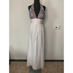 Alyce Paris White Size 6 Tulle Halter Backless Side slit Dress on Queenly