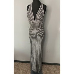 Johnathan Kayne Silver Size 8 Halter Straight Dress on Queenly