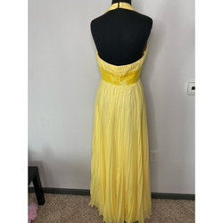 Blush Yellow Size 4 Halter Custom Side slit Dress on Queenly