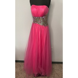 Jovani Pink Size 8 Tulle A-line Dress on Queenly