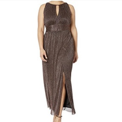 Gold Size 6 Side slit Dress on Queenly