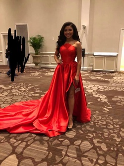 Jovani Red Size 2 Medium Height Train Dress on Queenly