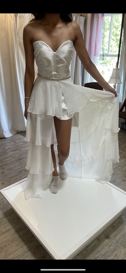 Rachel Allan White Size 4 Overskirt Jumpsuit Train Dress on Queenly