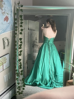 Sherri Hill Green Size 4 Corset Custom Ball gown on Queenly