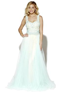 Style 16077 Jolene Blue Size 14 Tulle Nude Tall Height A-line Dress on Queenly