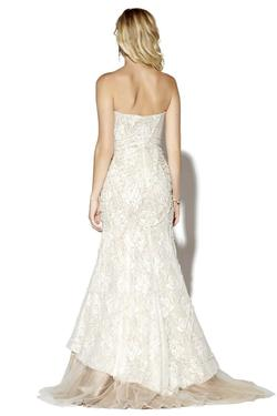 Style 16076 Jolene White Size 6 Tulle Nude Tall Height Lace Mermaid Dress on Queenly