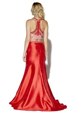 Style 16172 Jolene Red Size 8 Halter Nude Tall Height Mermaid Dress on Queenly